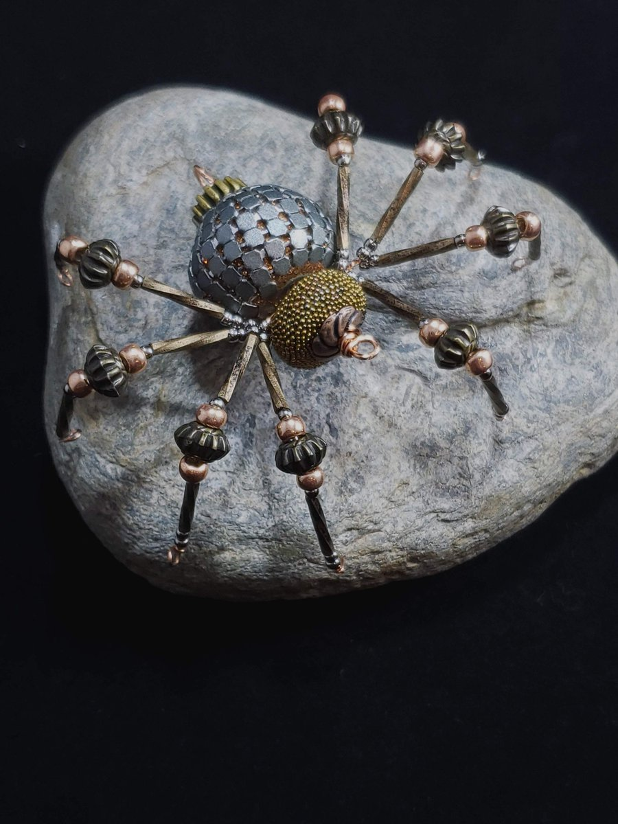 #Fashion Awesome of the Day: #Steampunk-isk ⚙️ Beaded #Spider 🕷️ Pendant Made of Mixed Metal By @RBreathes Available on #Etsy #SamaFashion 👕