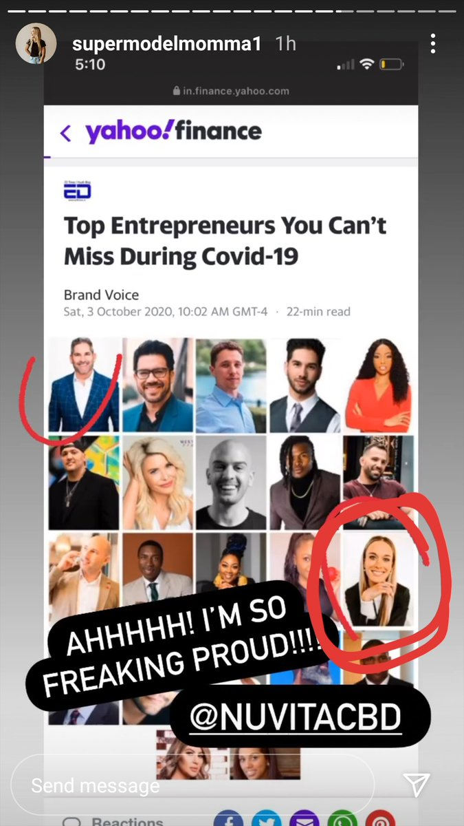 That's my boss right there circled in red on the bottom! So freaking proud of you #amandafata https://t.co/texOz2zJmb  #yahoo #YahooNation #Entrepreneur #topentrepreneur #nuvitacbd #nuvia #bossbabe #bossmom #grlpwr #girlpower #affiliate #CBD #cbdoil #cbdwellnes #momboss #finance https://t.co/uzxbzUievh