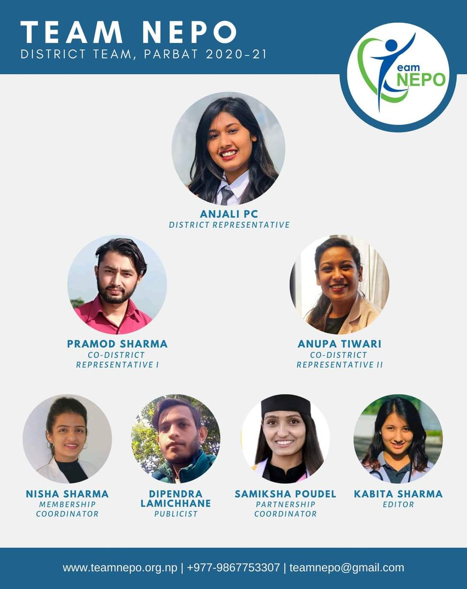 Team NEPO is delighted to announce its District Team, Parbat for 2020-21 under the leadership of Ms. Anjali PC. We wish successful tenure for all district team members. Congratulations and best wishes for your next adventure!   #TN #TeamNEPO #Parbat #GandakiProvince #TNLY2021 https://t.co/jPgvZFOeUE