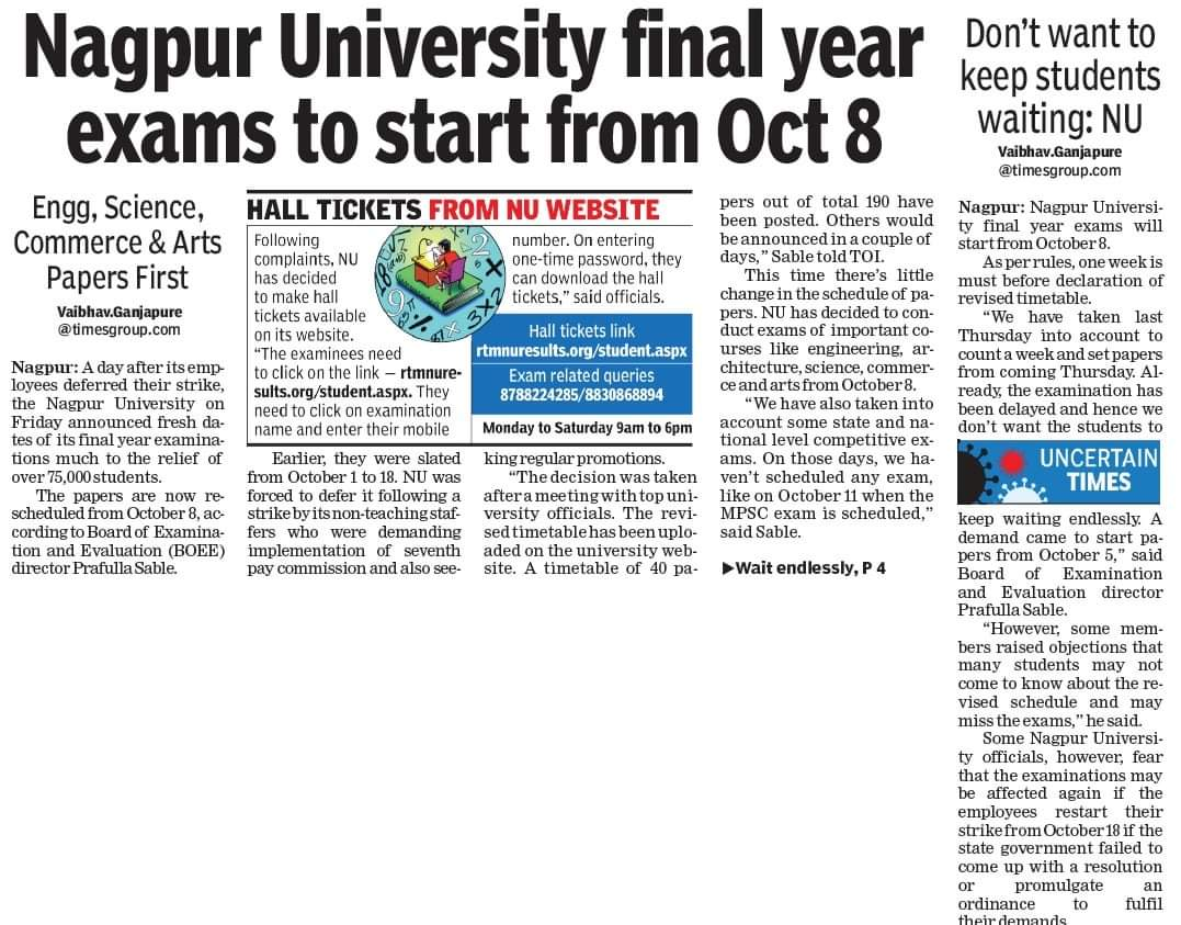 Nagpur University final year exams from Oct 8  https://t.co/HxgiTsoqVt @timesofindia @TOI_Nagpur @InfoNagpur @MahaDGIPR @RanjitVDeshmukh @Rtmnuonline @rtmnu @RTMNU1 @NagpurUni @vijaypTOI @SoumitraboseT @NagpurTimesTOI @NagpurTOI @VChangde @Nagpur_Social @MahendrNimbarte @TOIPune https://t.co/gncCxWI5qV