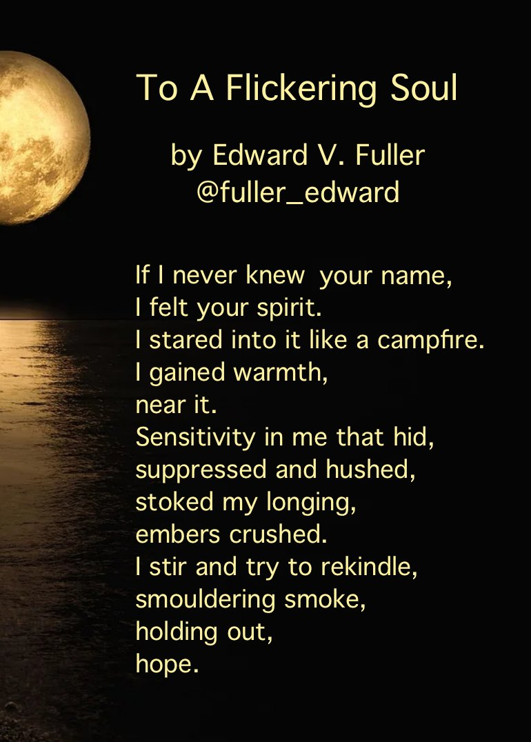 ☆ #ReadMeSpeakMe No.115 ☆ 4th October 2020 ☆   This week we are reading 'To A Flickering Soul' by Edward V. Fuller @fuller_edward   Please include the #ReadMeSpeakMe hashtag in your tweet and announce the poem title and author in your recording. https://t.co/p0FI4O585t