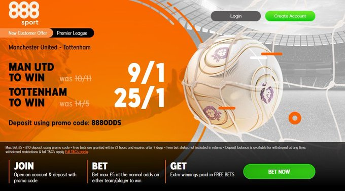 888 Sport Crazy Odds on Man UTD vs Tottenham