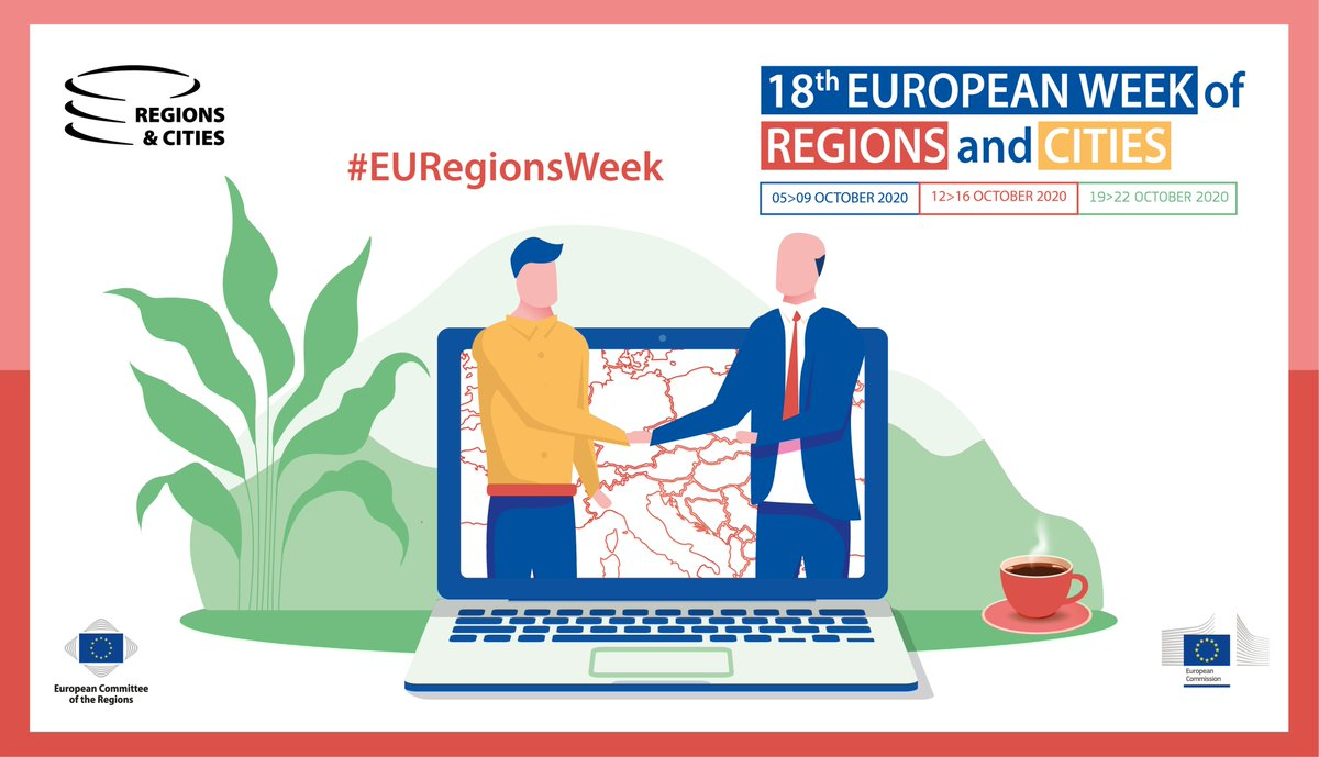 📅 From 12 to 16/10, come along at the digital #EURegionsWeek and discover what cooperation programmes have to offer you!   🔸1⃣ week focused on #CohesionAndCooperation 🔸1⃣ unique Citizens' Dialogue 🔸1⃣5⃣0⃣+ sessions   Interested? RSVP before 7/10 👉 https://t.co/e5QBff2VLb https://t.co/xKjhbTfis0