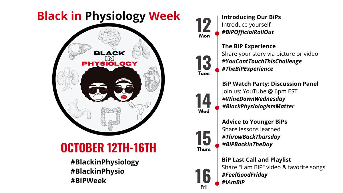 Get ready, get ready, get ready!!!!  We are 1 week away from  Black in Physiology Week | Oct. 12-16  #BlackinPhysiology #BlackinPhysio #BiPWeek https://t.co/tFOPG48DRL