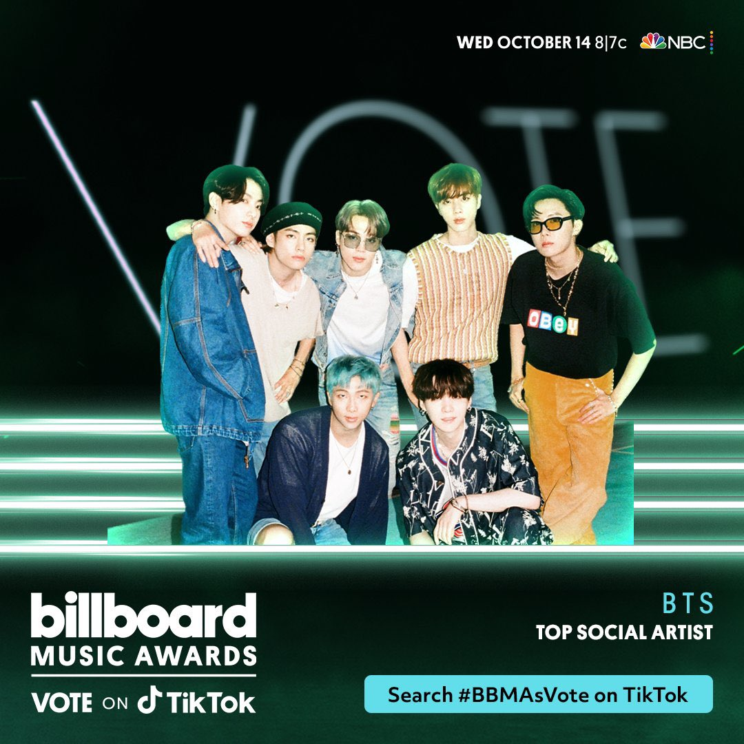 Cast your daily @BTS_twt Top Social Artist votes for 2020 #BBMAs via TikTok & the Billboard website!  • https://t.co/nCfrFvutAX • https://t.co/Yjr3WbDJx9 - @BTS_twt - #BTSARMY #JIN #RM #SUGA #JHOPE #jimin #V #JUNGKOOK #ARMY #BTS_OF_THE_DAY #ARMY_OF_THE_DAY  #방탄소년단 #MBAO https://t.co/hq7bwkKeXk