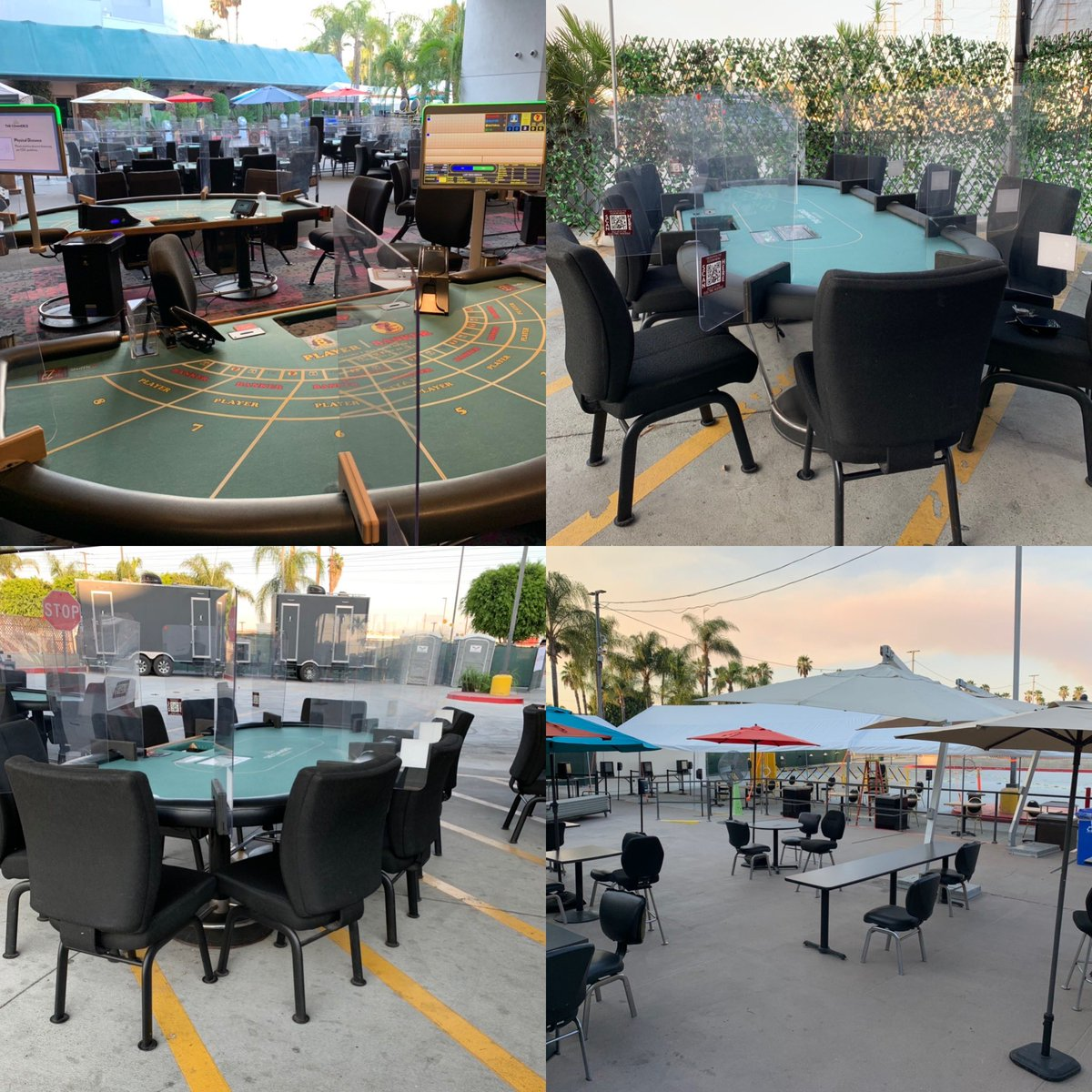 Commerce Casino On Twitter Thecommerce Reopens Tomorrow Monday October 5th At 8am Here Are A Few Pictures Of Our Outdoor Set Up Showing Some Poker And Baccarat Tables And The Physical Distanced