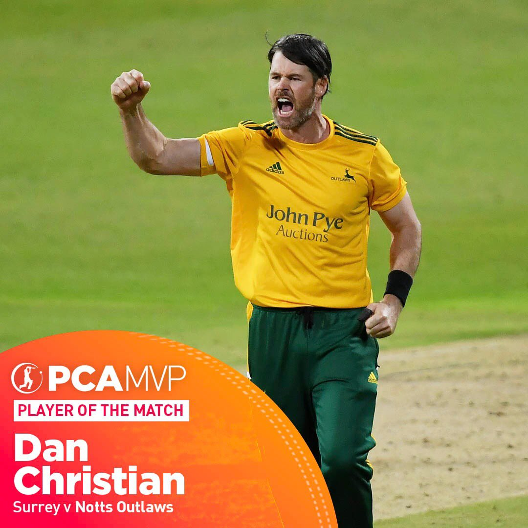 A captain's performance 👏👏👏 @VitalityBlast winners 🏆 4️⃣ for 2️⃣3️⃣ 🤯 2️⃣1️⃣ not out 21.96 MVP points 📈 Dan Christian had a real day out. #Blast20 #FinalsDay