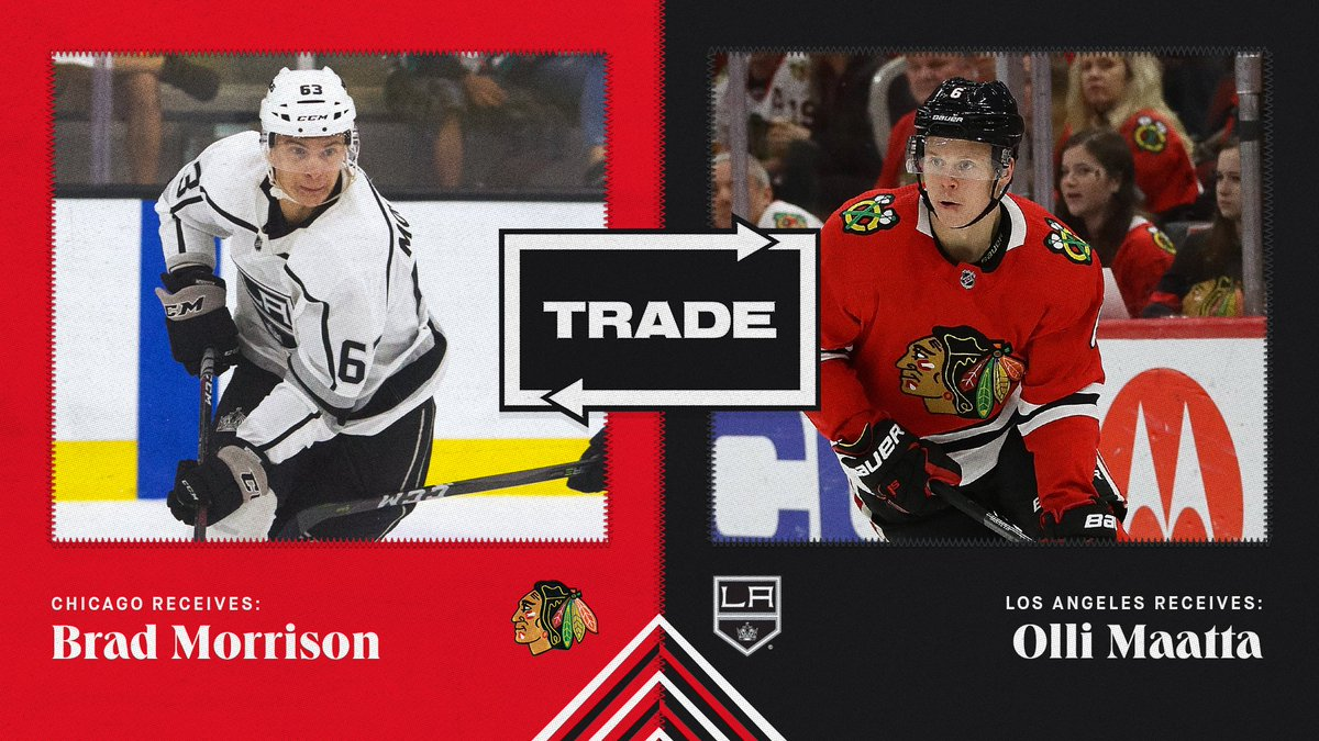 TRADE ALERT: The #Blackhawks have acquired forward Brad Morrison from the Los Angeles Kings in exchange for defenseman Olli Maatta.   Release: https://t.co/2RWtj8WiPO https://t.co/GUQZoKf0su