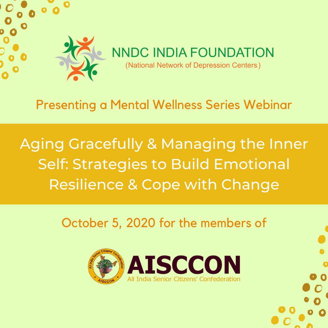 "Monday webinar alert! NNDC- India Foundation is excited to host and present ""Aging Gracefully & Managing the Inner Self"" as part of its series of mental health webinars!   Interested in an educational webinar for your group? Send us an email! We're happy to accommodate anyone!"