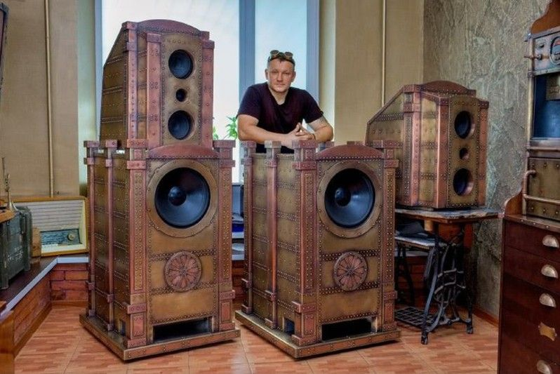 "#Design Awesome of the Day: #Steampunk ⚙️ 6.5"" Horn #Speakers 🔊 Made by Dmitriy Tihonenko via @steampunkjnkies #SamaDesign"