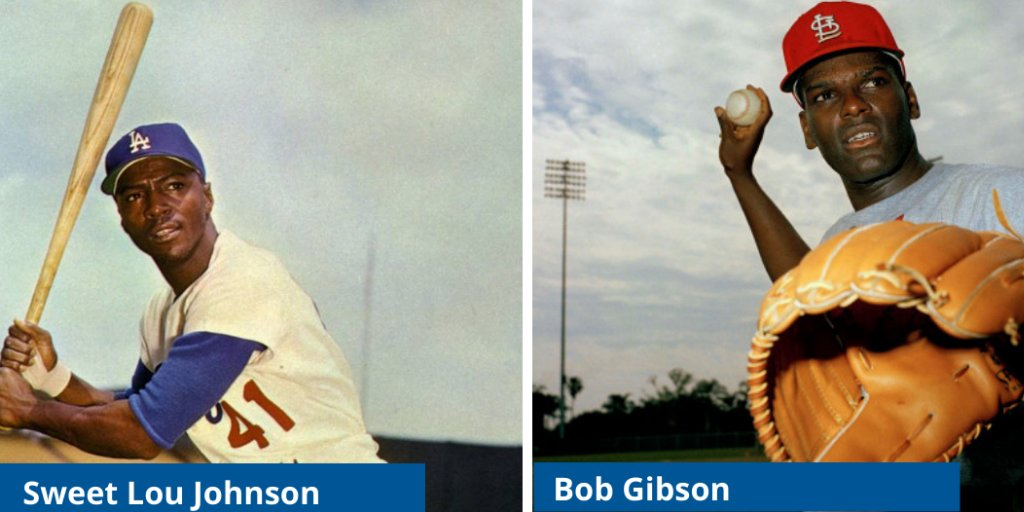 JRF salutes baseball legends, Sweet Lou Johnson and Bob Gibson jackierobinson.org/blog/tribute-f…