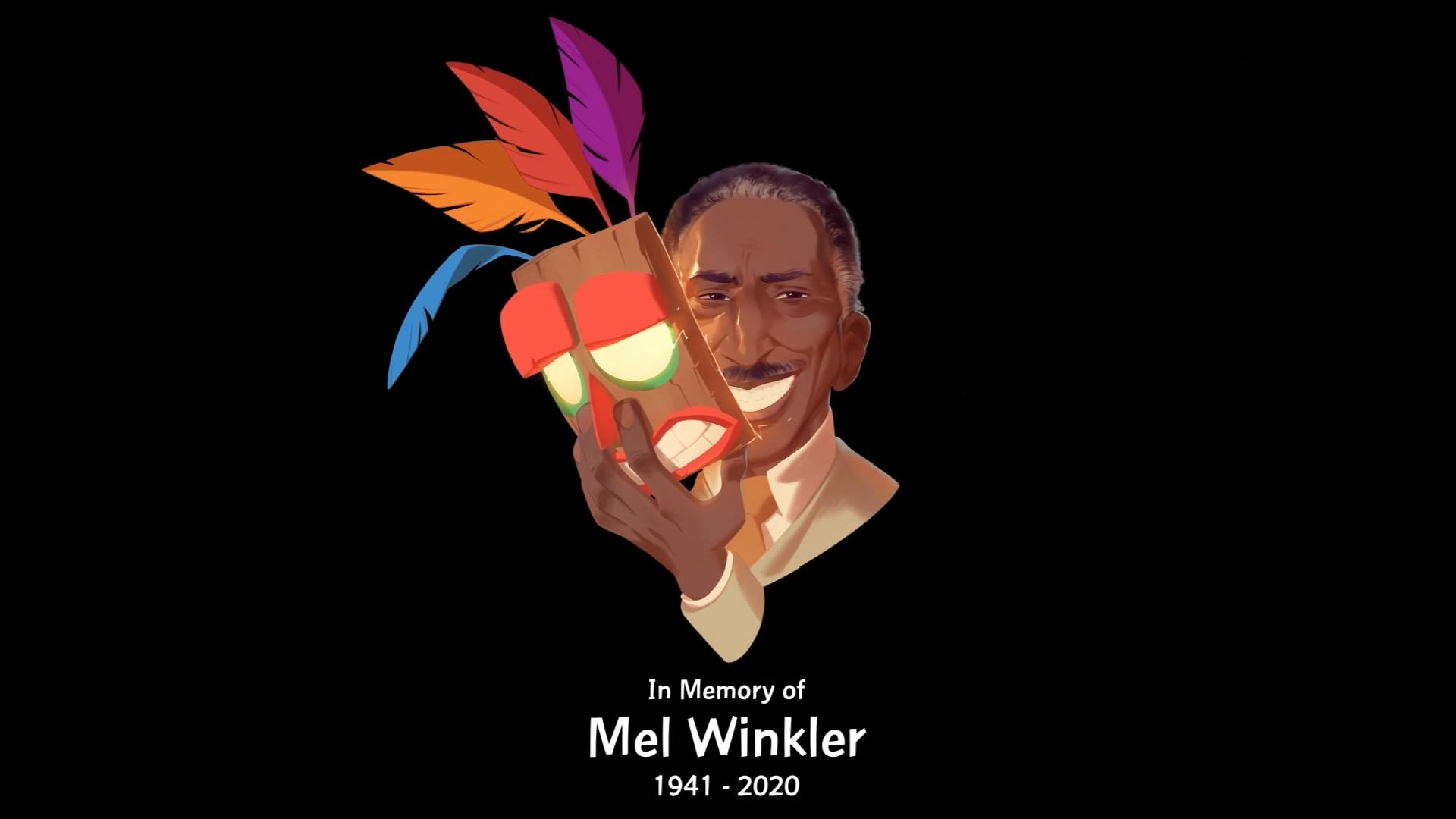 """Más Consolas a Twitter: """"#CrashBandicoot4 incluye un homenaje a Mel  Winkler, la voz original de Aku Aku, fallecido en junio pasado. Detallazo… """""""