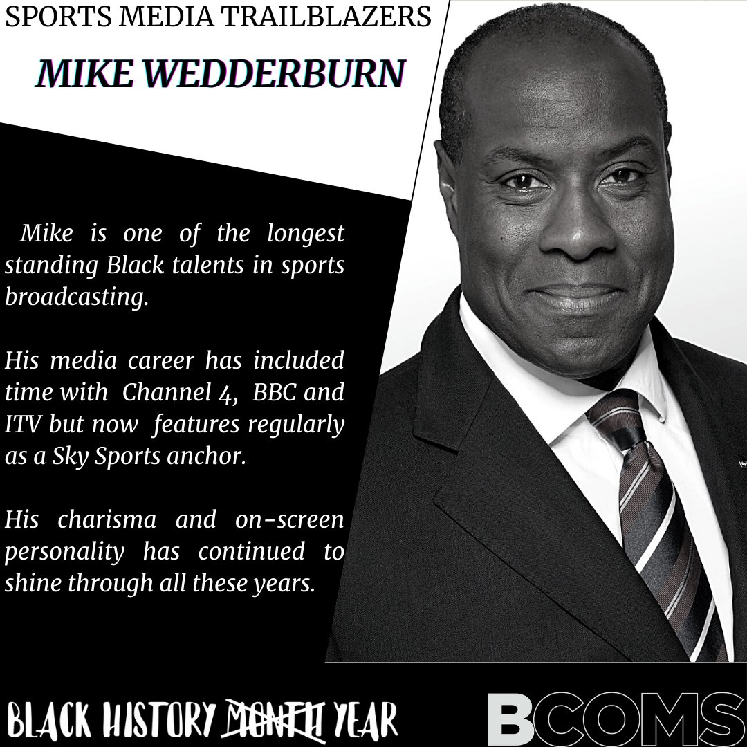 Over the next weeks, we'll be recognising trailblazers in the sports media.  Those who have and continue to pave the way for the next generation.  First up, @SkySportsNews anchor Mike Wedderburn  #BlackHistoryYear