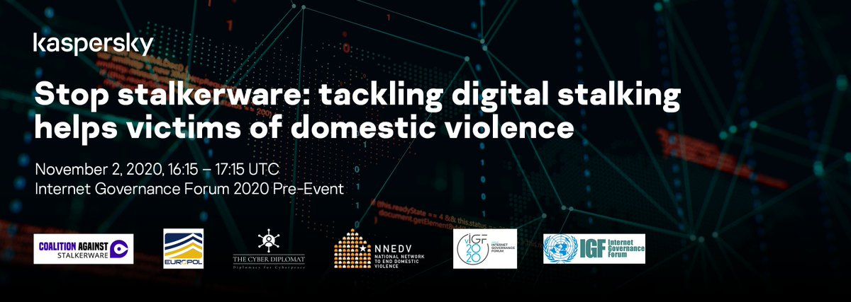 Join us in one month, on November 2, at the Internet Governance Forum to discuss the issue of stalkerware with @StopStalkerware @diplomacy_cyber @nnedv @EC3Europol. Register now 👉 https://t.co/WPbU1nm7XE #StopStalkerware #IGF2020 https://t.co/KvfN1TWNhH