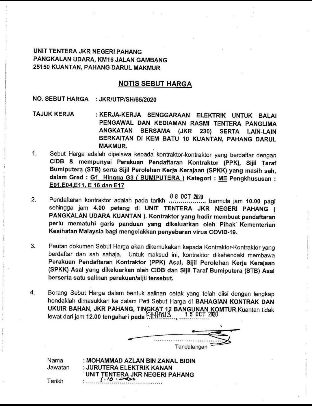 Jkr Pahang On Twitter Pemakluman Notis Sebutharga Unit Tentera Jkrpahang Suhaimij1962
