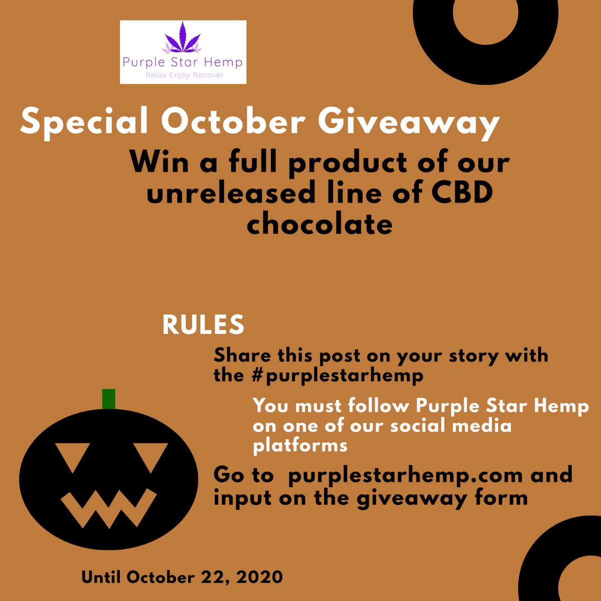 Treat yourself and enter your name for a chance to win a full product of our unreleased CBD chocolate.   🎃🍫Rules🍫🎃  #giveaway #raffle #cbd #cbdproducts #health #lifestyle #winner #southflorida #chocolate #unreleased #futureproduct #special #october https://t.co/ZcDeayoecG