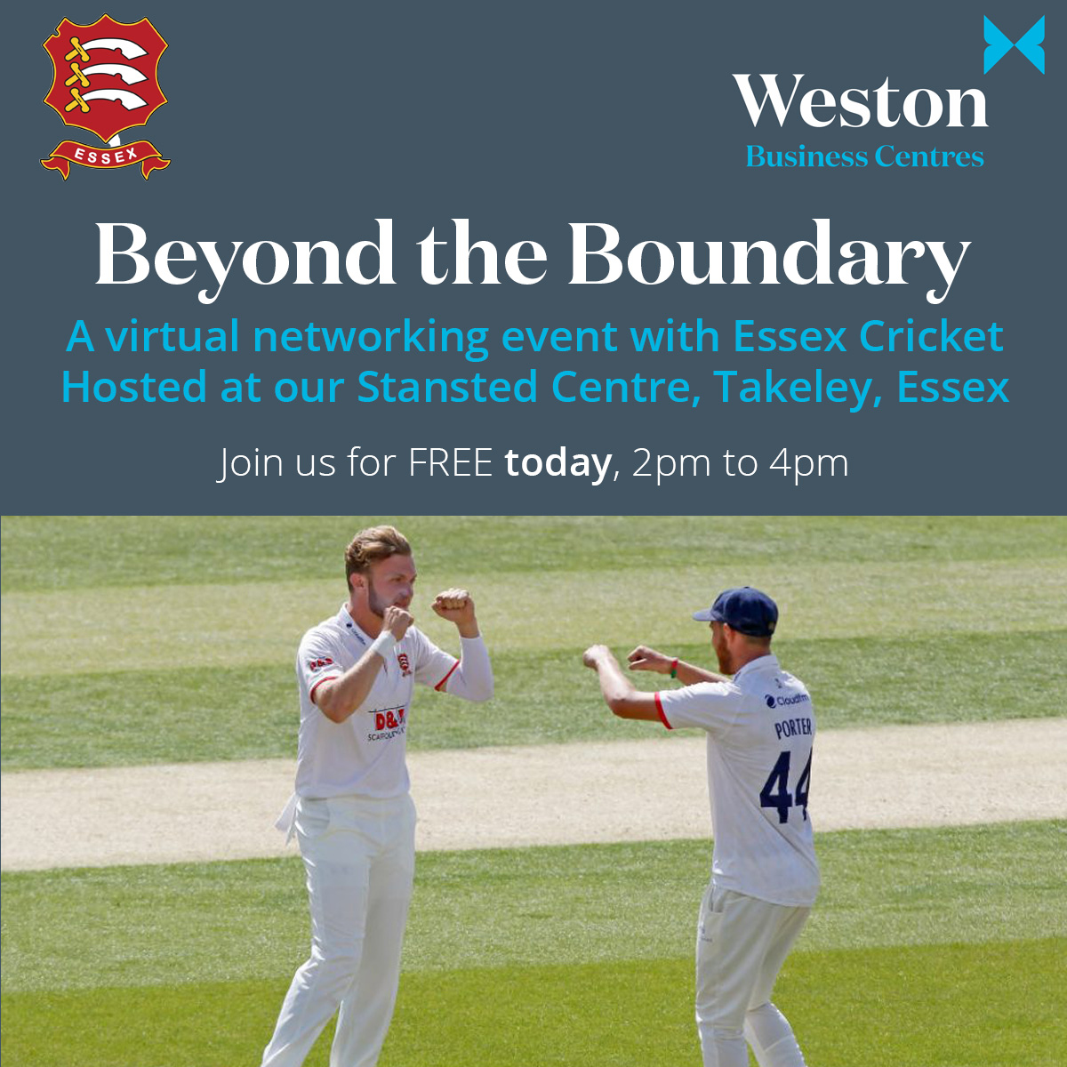 TODAY! Join us from 2pm to 4pm for @EssexCrickets #virtualnetworking event #BeyondtheBoundary sponsored by @Tees_Law Hosted from our #Stansted centre! essexcricket.org.uk/virtual-beyond…