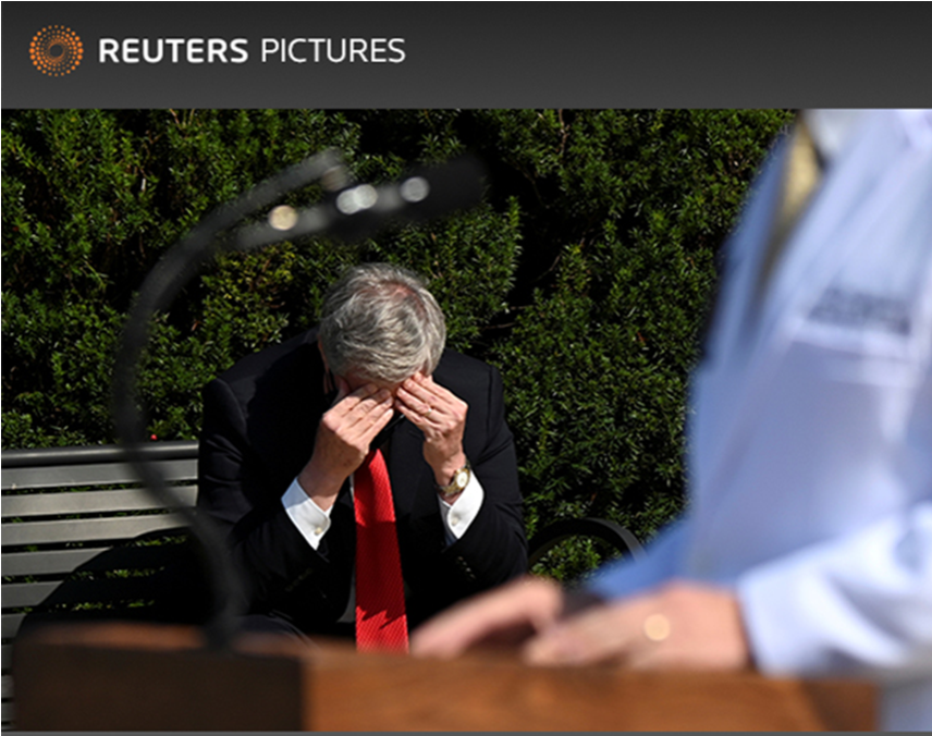 Editor pic of the day: White House Chief of Staff Mark Meadows rubs his head as U.S. Navy Commander Dr. Sean Conley, the White House physician, speaks to the media about President Donald Trump's health at Walter Reed National Military Medical Center @Reuters Erin Scott