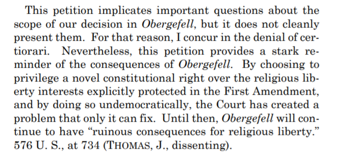 First day of the SCOTUS term and Alito & Thomas call for the overturning of Obergefell. https://t.co/IwejJL6dGX