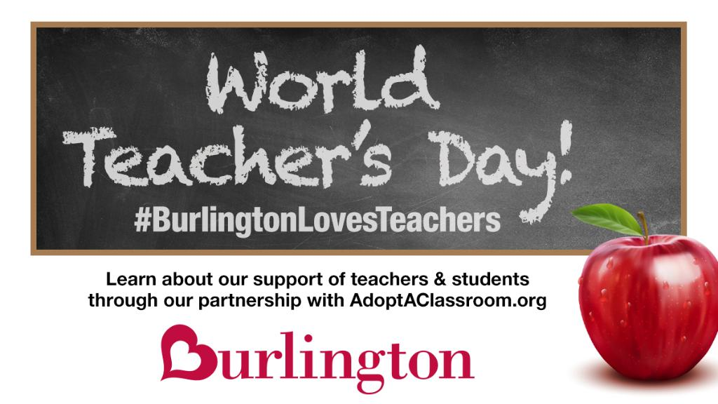 Now more than ever, Burlington is proud to support teachers and their students through its national partnership with @Adopt_classroom!  #BurlingtonLovesTeachers Learn more, at