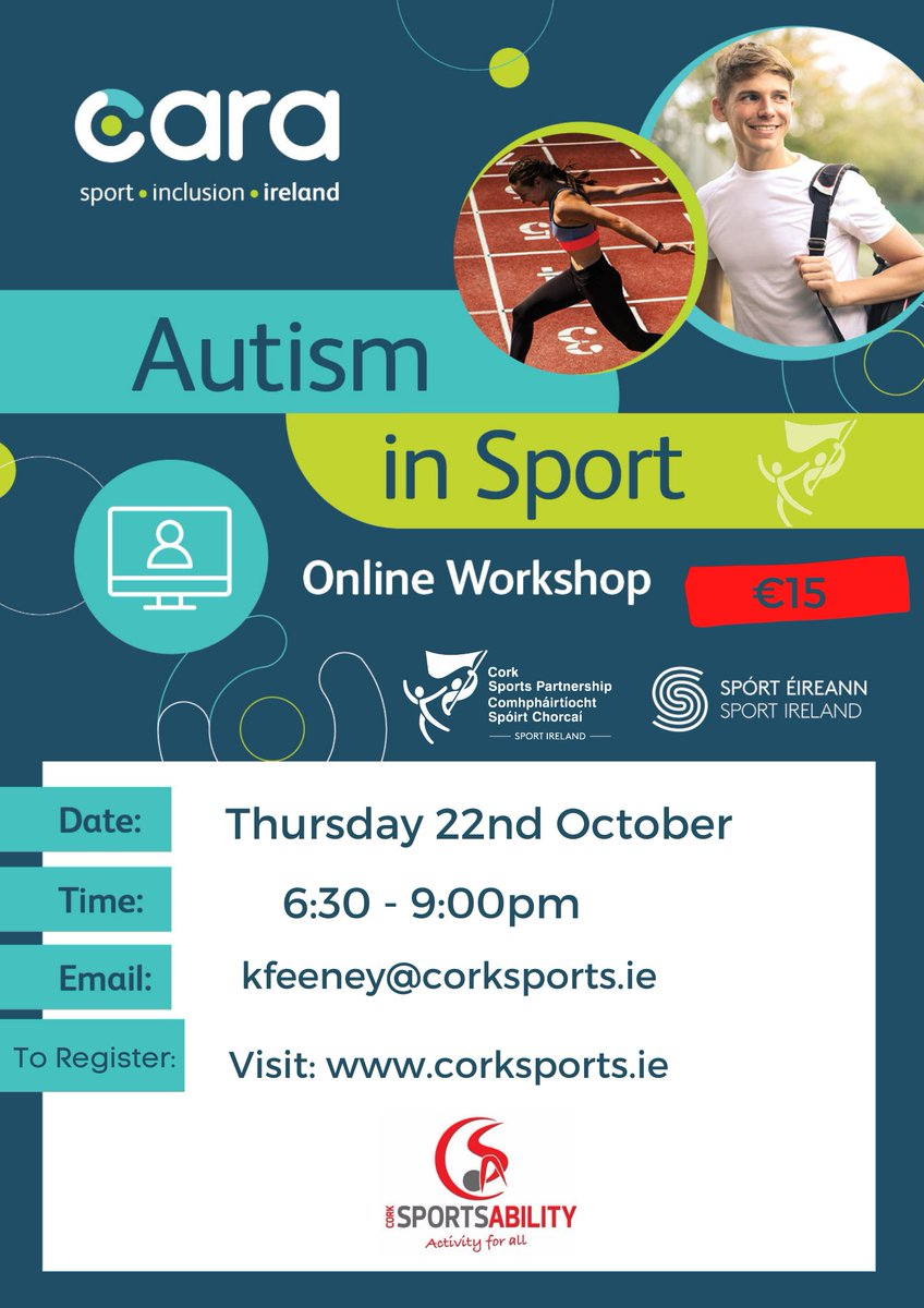 🎉 New Online Autism in Sport Workshop 🥳  📅 Thursday 22nd Oct ⏰ 6:30-9:00pm  📍 Online via Zoom  This workshop will provide you with an understanding of autism focusing on the delivery of sport!⛹️♂️🎾🤸♀️⚽️  ℹ https://t.co/rNNd7NNriq  #KeepCorkActive #CorkSportsAbility https://t.co/VQrSyCs8az