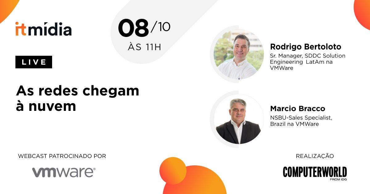 Quer saber mais sobre Virtual Cloud Network (VCN)?Os Executivos da VMWare: Marcio Bracco e Rodrigo Bortoloto vão explicar o conceito e como ele se aplica no cotidiano das empresas que estão em sua jornada digital. Ao vivo quinta feira 08/10 às 11h. Acesse: https://t.co/TcAO1R00UD https://t.co/nEJ7V7P7dS