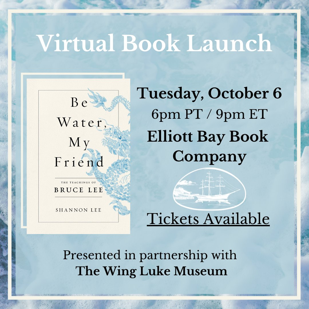 TOMORROW! Join Shannon Lee with @ElliottBayBooks to talk about Be Water, My Friend! btt.boldtypetickets.com/events/1082935…