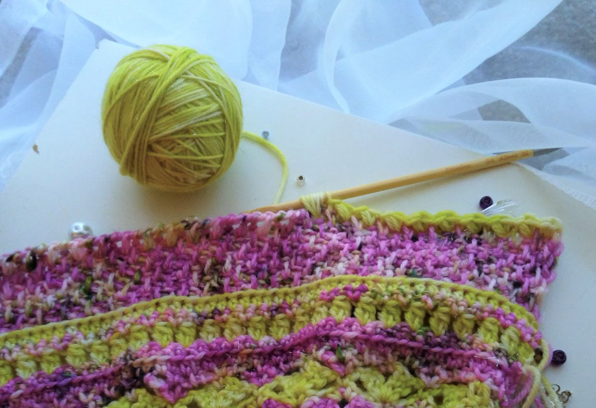 Sneak peek of new crochet design, coming later this week, in Voie de Vie Yarns Superwash Bling base, Chartreuse-ish and Day Lilies colorways.