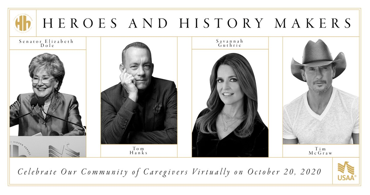 Where can you watch @tomhanks, @SavannahGuthrie, and @TheTimMcGraw on one stage?? Sign up now for our virtual #HeroesandHistoryMakers gala Oct. 20th and join us in honoring military and veteran caregivers across the nation. You wont want to miss this! bit.ly/EDFHHM2020