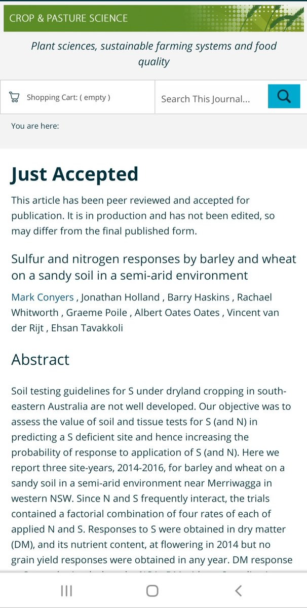 Keep on eye out for this journal article on S & N responses in barley & wheat grown in a semi-arid environment https://t.co/587uam2v3u