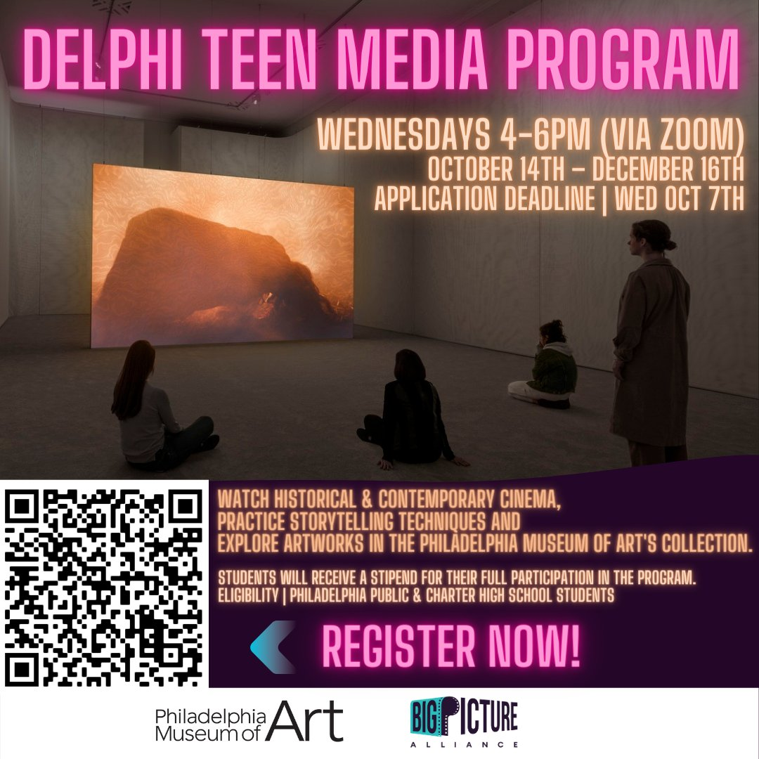 Register for the Delphi Teen Media Program! Watch films, learn about film history & cinematic storytelling, and explore artwork from the Philadelphia Museum of Art. https://t.co/h7cRapIZ9N  #youthfilm #youthmedia #phillyyouth #phillyfilm #cinema https://t.co/ncnZ2RsZ3t