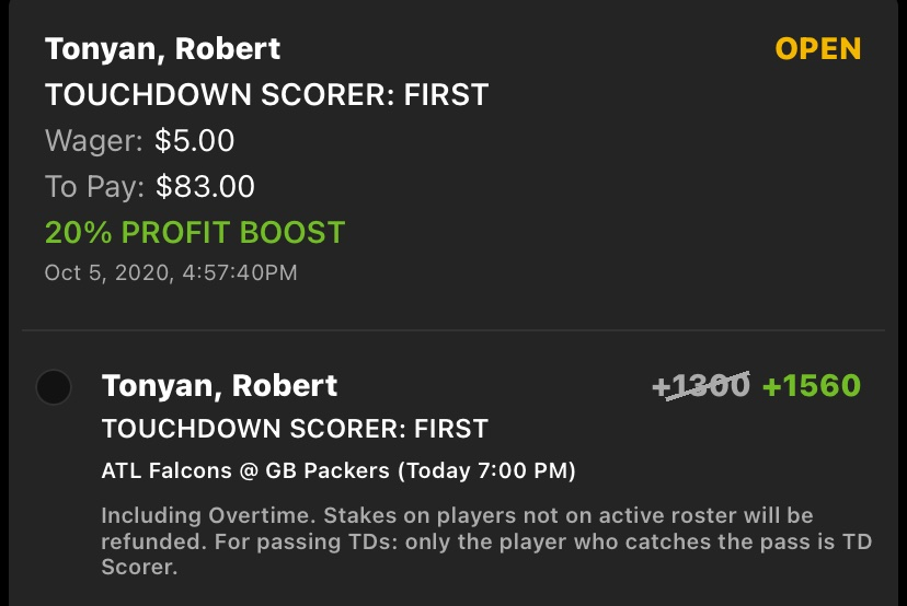 Really thought I had a great bet with Tonyan first TD and he's adding salt into the wound scoring two TDs, but not being first... 🙃