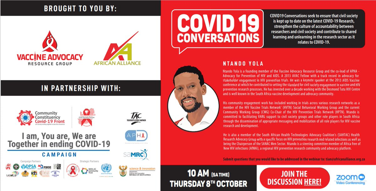 REMINDER to join us this morning at 10am #COVID19Conversations with @vaccineadvocacy on lessons in promoting engagement between scientists & civil society, transparency of research & #COVID19 vaccine trials  ZOOM details below👇👇👇👇👇👇 @apha_sa @SA_AIDSCOUNCIL @CivilSociety_SA https://t.co/IT6M16mLjI