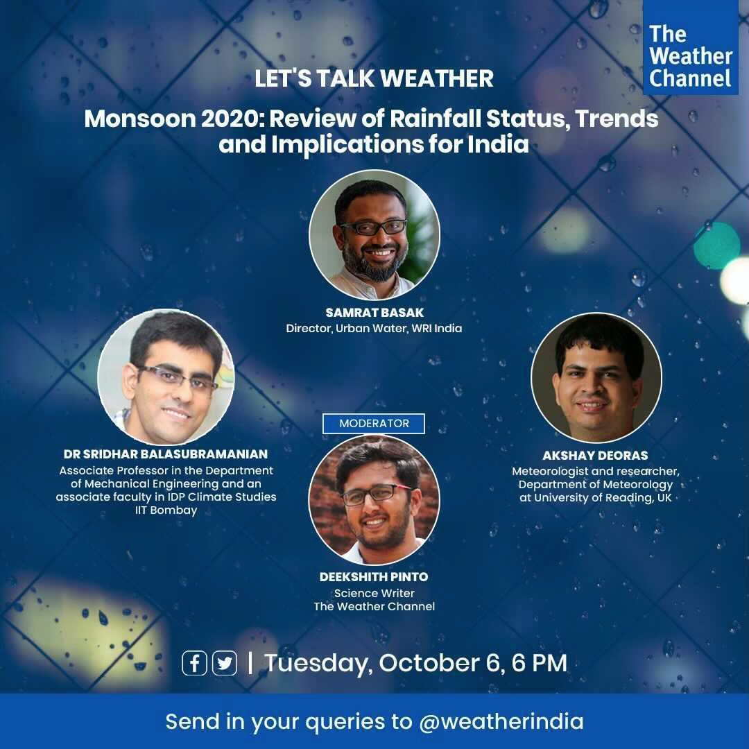 We will be discussing various features of this year's southwest #monsoon season in two hours from now (06pm IST/01.30 pm BST) on @weatherindia.   Watch LIVE on The Weather Channel India's Twitter (https://t.co/LJyMQSe4XT) & Facebook pages (https://t.co/fxNsi08p96). https://t.co/CZagcrqYZp