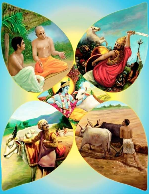 Four Varnas have been considered equal as four Body sections. Because a man is dependent on all of these four sections.