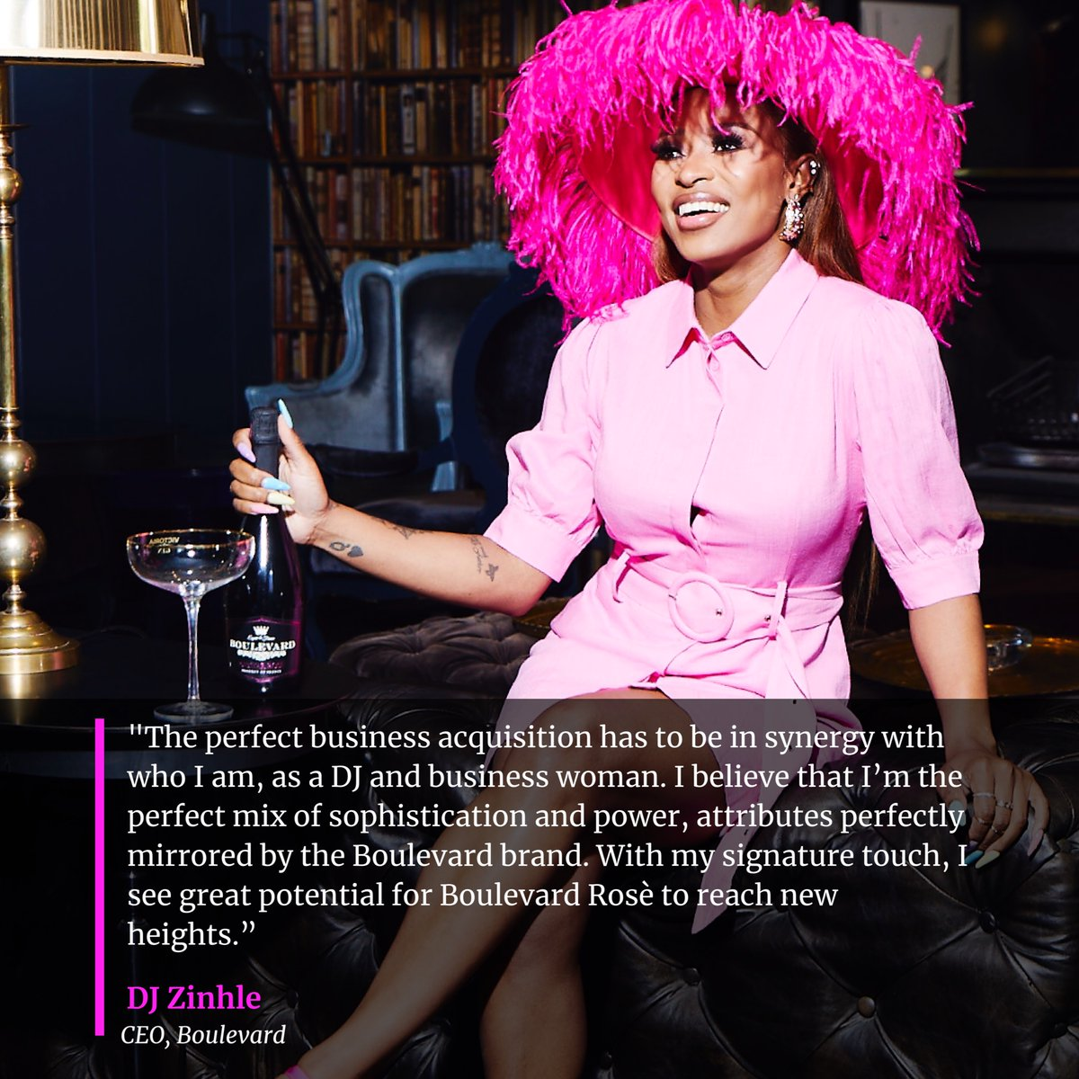 Let me get a bottle of Boulevard Rosé to celebrate!!🥂   My team & I work really hard, words can't describe this moment. Our hard work never went unnoticed.  God really is the greatest. ❤️  Here's to celebrating your  moments, the Boulevard way!!!  Cheers! 🥂 #BoulevardXDJZinhle https://t.co/JsQetl3CEC