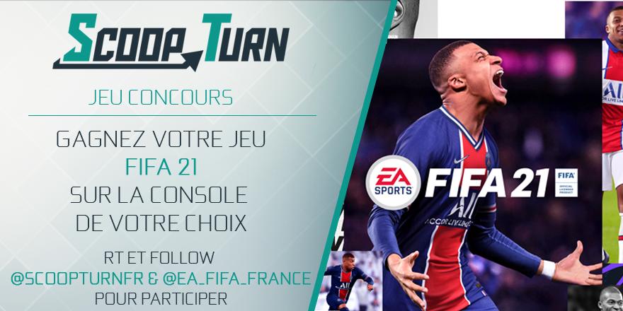 Nouveau concours avec un #FIFA21 à remporter sur la console de votre choix !  ➡️ Pour participer : RT + Follow  @ScoopTurnFR  et  @EA_FIFA_France  TAS le 9/10 ! https://t.co/YIASfPQ3dT