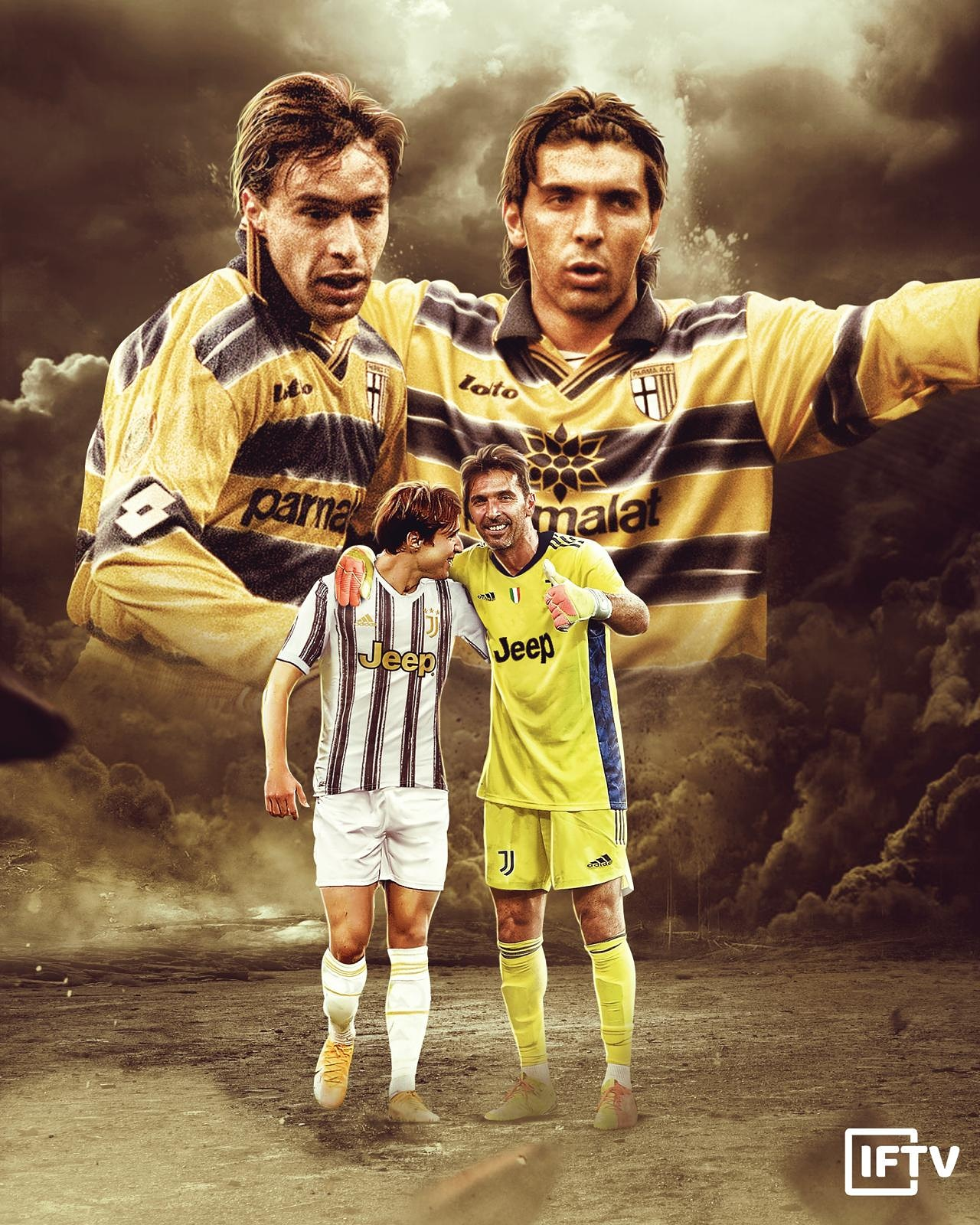 """Italian Football TV on Twitter: """"Gianluigi Buffon was teammates at Parma  with Enrico Chiesa in 1999, 19 years later Gigi is now teammates with his  son at Juventus: Federico Chiesa… https://t.co/u07r9jEUD4"""""""