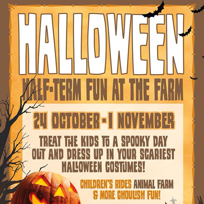 "Treat the kids to a FEAST of fun at ""HALLOWEEN Half Term Fun at Farm!"". Childrens rides, animal farm, Halloween trail, best fancy dressed prizes, indoor spooktacular safe & fun live entertainment! Book tickets: https://t.co/nWvhqqIdHI @KMWhatsOn @M..."