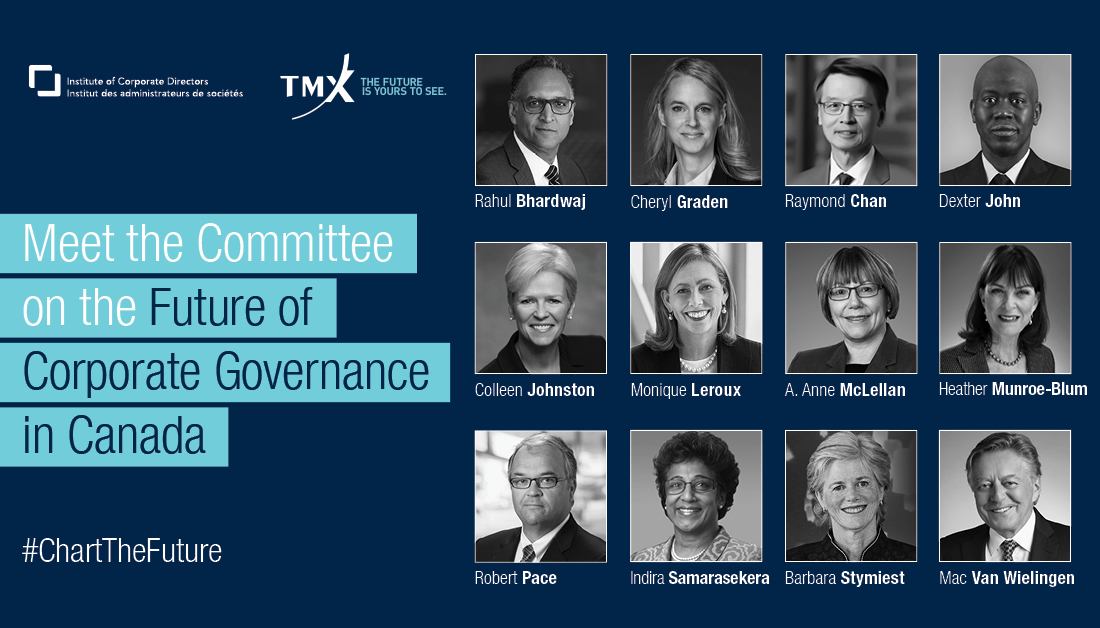 .@ICDCanada & @TMXGroup announced details regarding The Committee on the Future of #CorpGov which has been formed to provide updated #CorpGov guidance. Roundtables kicked off 10/1/20 & an Interim Report will be issued in early '21. Learn more ➤ https://t.co/qcVcBGugGH. https://t.co/toXNGFLqxn