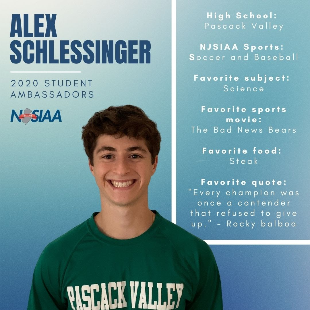 Get to know a little bit about our 2020 Student Ambassador, Alex Schlessinger! #NJSIAA is happy to have you on board!