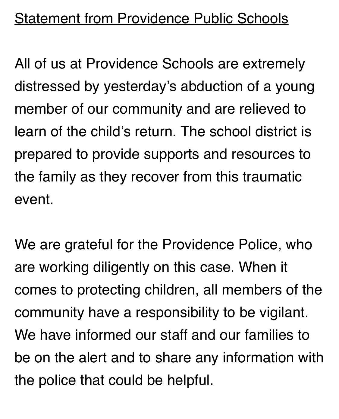 Amanda Pitts On Twitter Pvdschools Statement On Yesterday S Abduction Of A 9 Y O Girl Around 3pm The Girl Was Abducted In The Area Of Grover Merino Streets After Getting Off Of