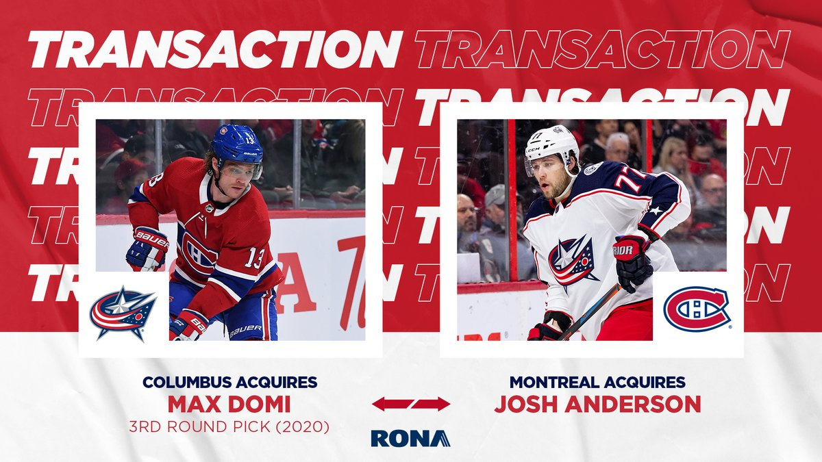 Canadiens Montreal On Twitter Canadiens Acquire Forward Josh Anderson In Return For Max Domi And A Third Round Pick In 2020 78th Overall Gohabsgo Ronainc Https T Co Lpng4hy1wc