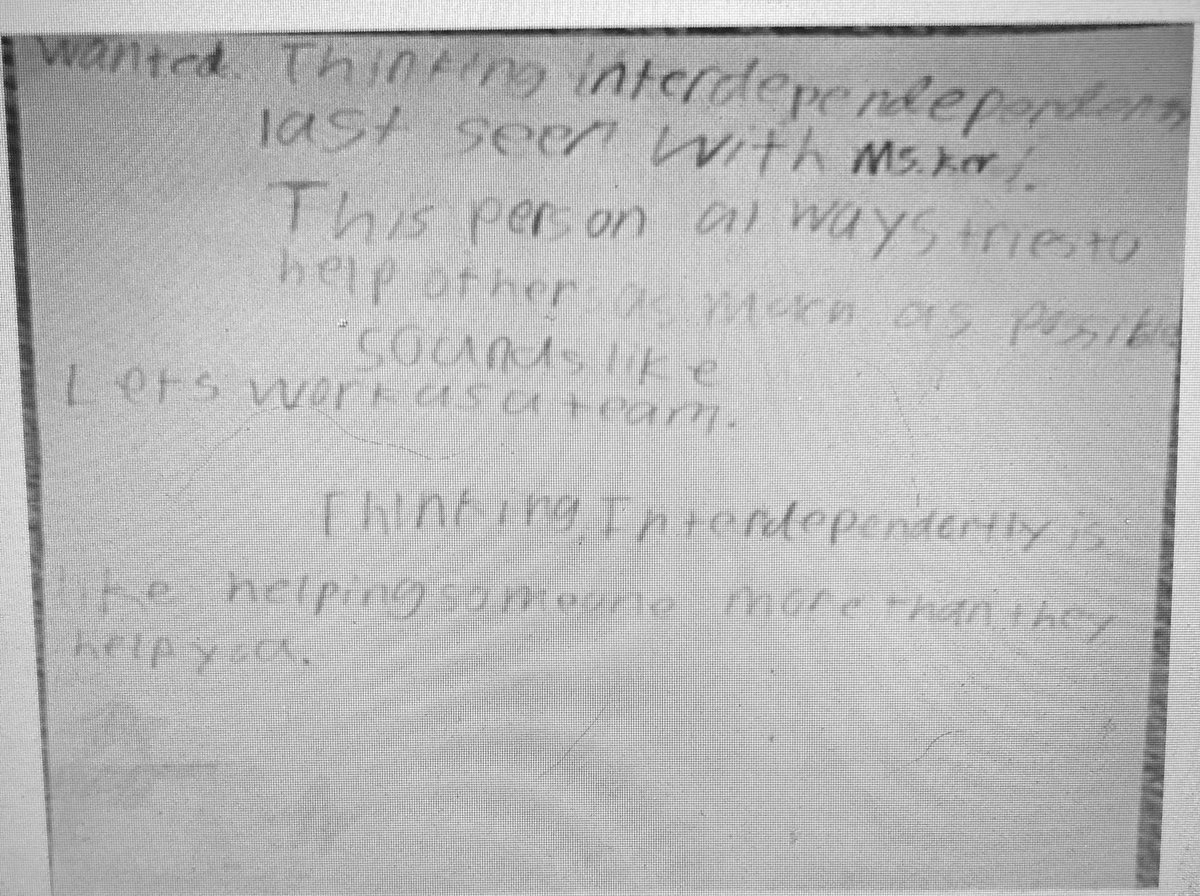 """Hard to read through a screen but 4th grade students worked on Habits of Mind """"Wanted"""" posters. One Ss shared they wanted to work towards thinking interdependently just like how <a target='_blank' href='http://twitter.com/tkercounselor'>@tkercounselor</a> does! <a target='_blank' href='http://search.twitter.com/search?q=helpeachotherasmuchaspossible'><a target='_blank' href='https://twitter.com/hashtag/helpeachotherasmuchaspossible?src=hash'>#helpeachotherasmuchaspossible</a></a> <a target='_blank' href='http://search.twitter.com/search?q=collaborate'><a target='_blank' href='https://twitter.com/hashtag/collaborate?src=hash'>#collaborate</a></a> <a target='_blank' href='http://search.twitter.com/search?q=habitsofmind'><a target='_blank' href='https://twitter.com/hashtag/habitsofmind?src=hash'>#habitsofmind</a></a> <a target='_blank' href='http://twitter.com/APSGifted'>@APSGifted</a> <a target='_blank' href='http://twitter.com/APS_ATS'>@APS_ATS</a> <a target='_blank' href='https://t.co/ynO5SrrZKO'>https://t.co/ynO5SrrZKO</a>"""
