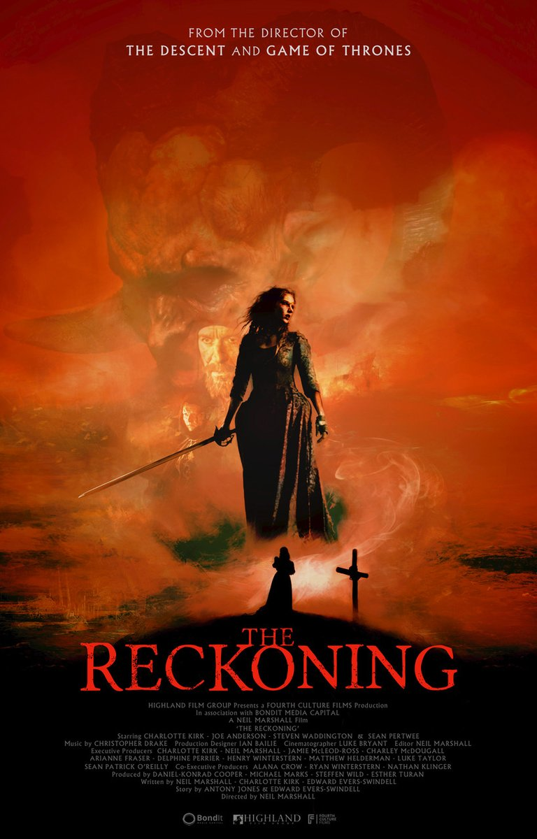 """FrightFest on Twitter: """"Here are some INCREDIBLE alt posters for THE RECKONING from Neil Marshall (DOG SOLDIERS / THE DESCENT / DOOMSDAY) starring @charlottekirk_1 @seanpertwee UK Prem tix / details here: https://t.co/8Ba8b9fQsU…"""