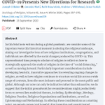 FREE TO READ  The Editorial Team @SORJournal considers new directions for research in the social scientific study of religion during the age of COVID-19.  @ParadoxOfBelief, @praxishabitus, @RuthBraunstein, @ndrewwhitehead, @gbyukich   https://t.co/wwxWQJbTJg