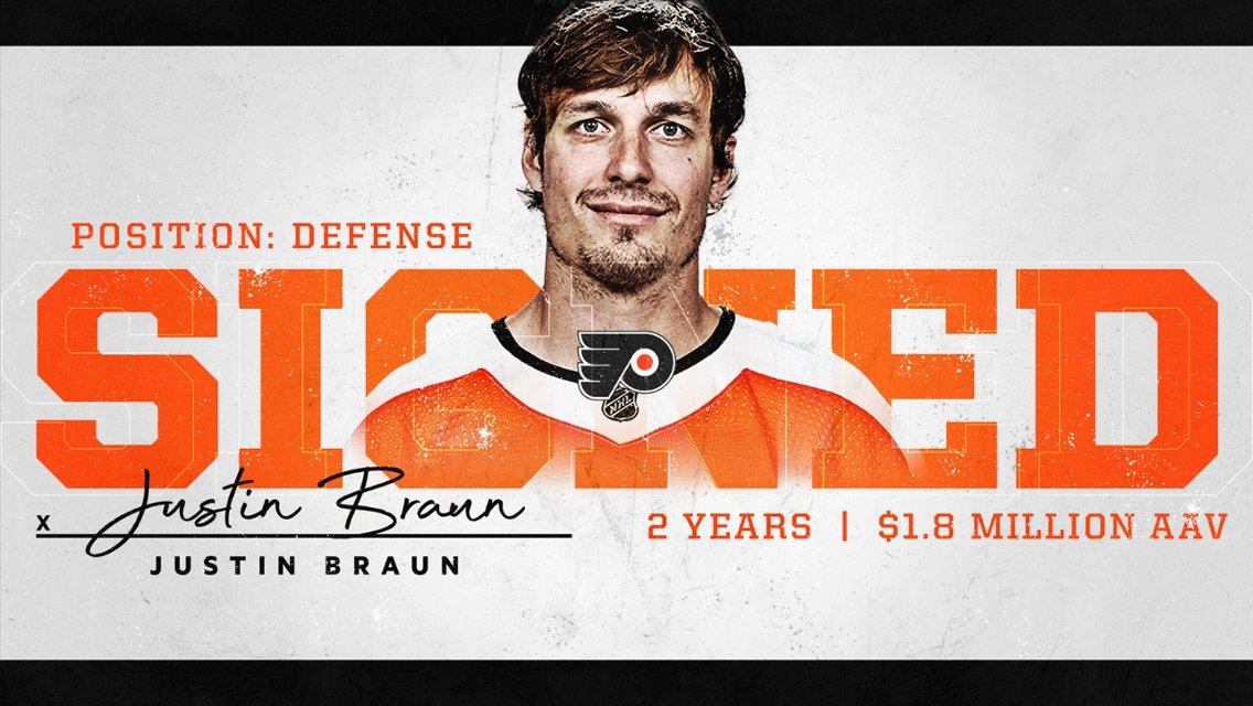 Los @NHLFlyers han renovado ✍🏻 al defensaJustin Braunpor 2️⃣ temporadas y un salario de 1.8M$ #NHLesp #Flyers #LetsGoFlyers #NHL