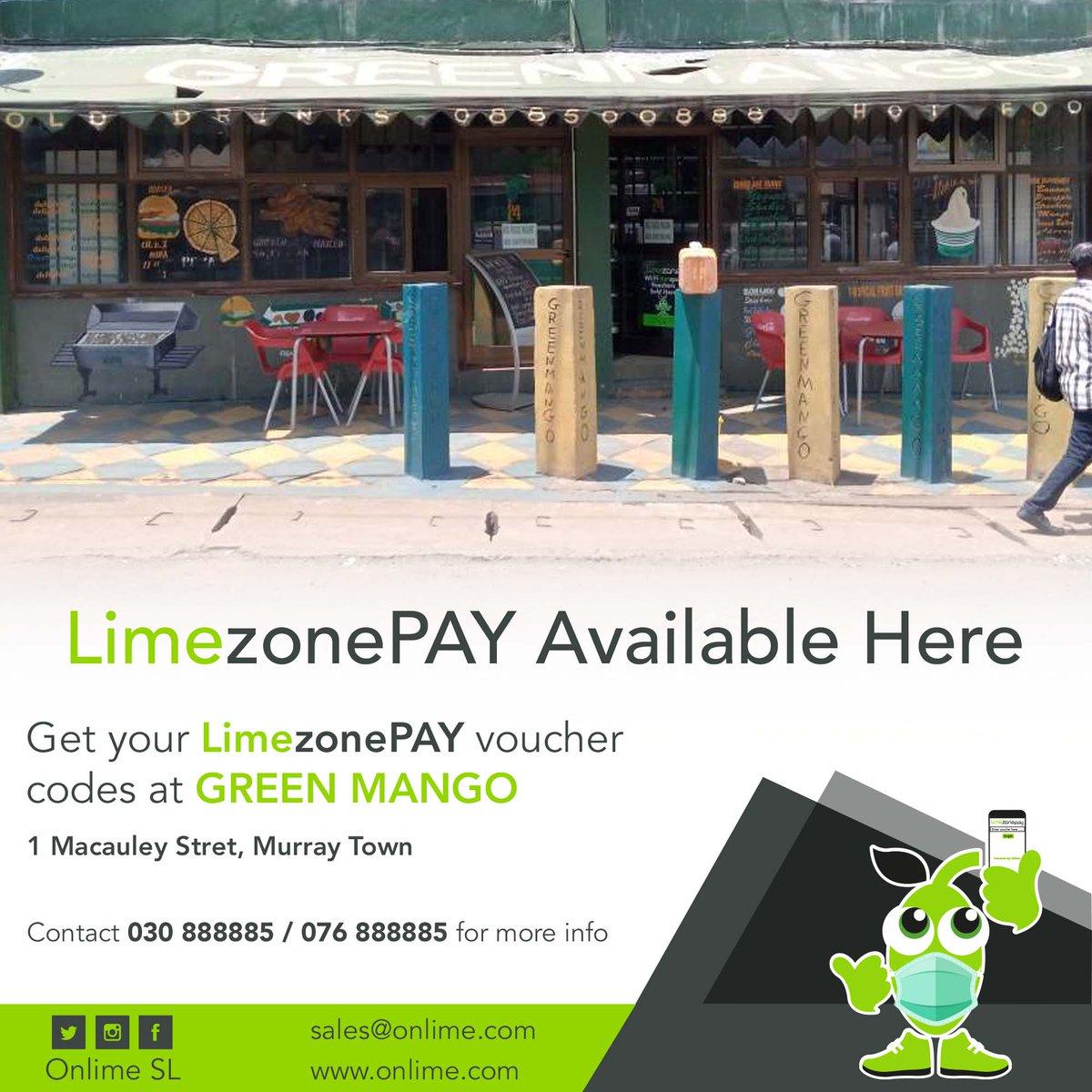 Get your LimezonePAY Voucher codes from Green Mango, 1 Macauley Street Murray Town. contact +23230888885/+23276888885 for more info. #Staywell #StaySafe #LimezonePAY #SuperfastInternet #ABundleOfCheapData https://t.co/sXtnA2Mhec