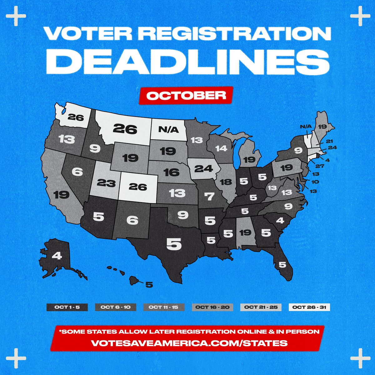 We're 28 days away from the US General Election! Check for your state's registration deadline, then head to  to confirm your registration status.