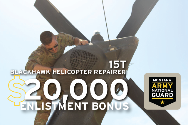 Do you have a sense of #adventure?  The Montana Army National Guard is looking for individuals who are interested in learning a new skill to fill our Blackhawk Helicopter Repairer positions.  Think you have what it takes? Visit  for more info! #military